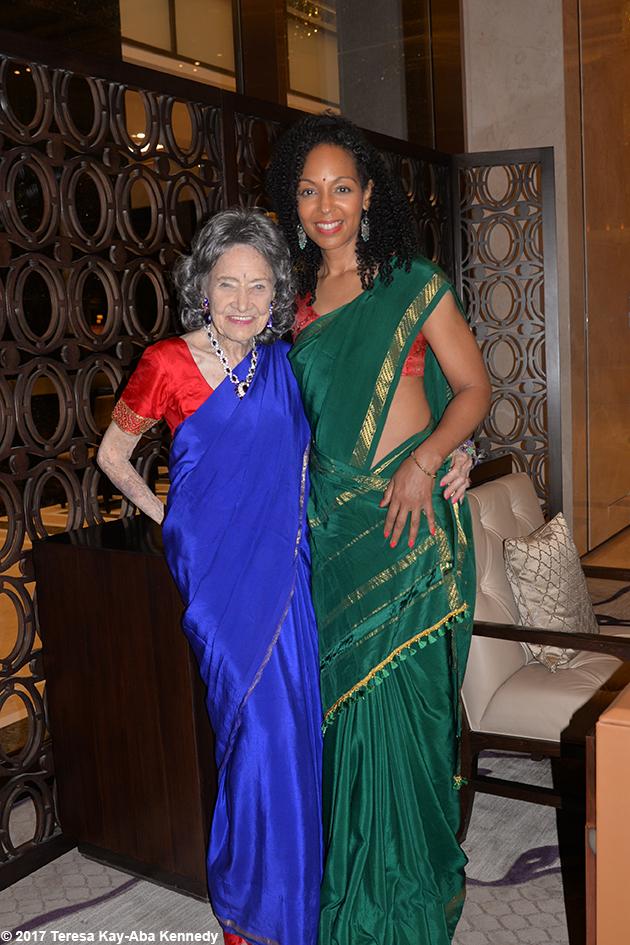 98-year-old yoga master Tao Porchon-Lynch and Teresa Kay-Aba Kennedy in Bangalore, India - June 20, 2017