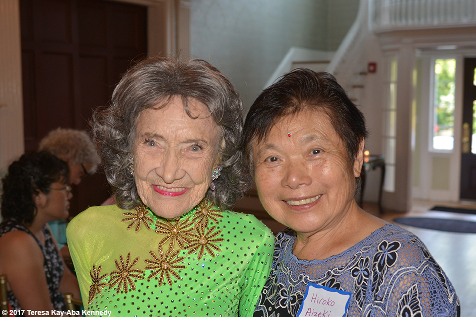 Hiroko Aizeki with Yoga Master Tao Porchon-Lynch at her 99th Birthday Party at the Mansion on Broadway in White Plains, NY - August 13, 2017