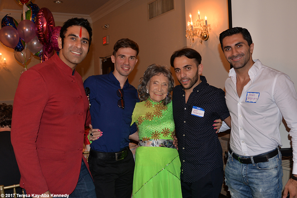 Sandip Soparrkar, Anton Bilozorov, Vard Margaryan and Arsen Sargsyan with Yoga Master Tao Porchon-Lynch at her 99th Birthday Party at the Mansion on Broadway in White Plains, NY - August 13, 2017