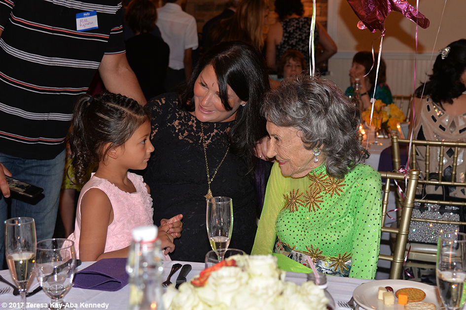 Natasha Tao and Joanna Rajendran with Tao Porchon-Lynch at Tao's 99th Birthday Party at the Mansion on Broadway in White Plains, NY - August 13, 2017