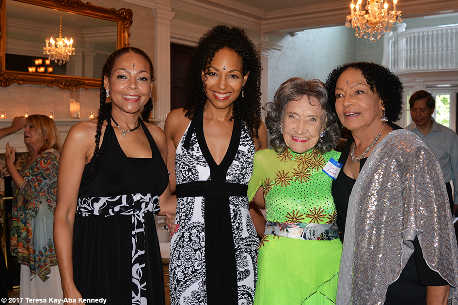 Sheila Kennedy Bryant, Teresa Kay-Aba Kennedy, Tao Porchon-Lynch and Janie Sykes-Kennedy at Tao's 99th Birthday Party at the Mansion on Broadway in White Plains, NY - August 13, 2017