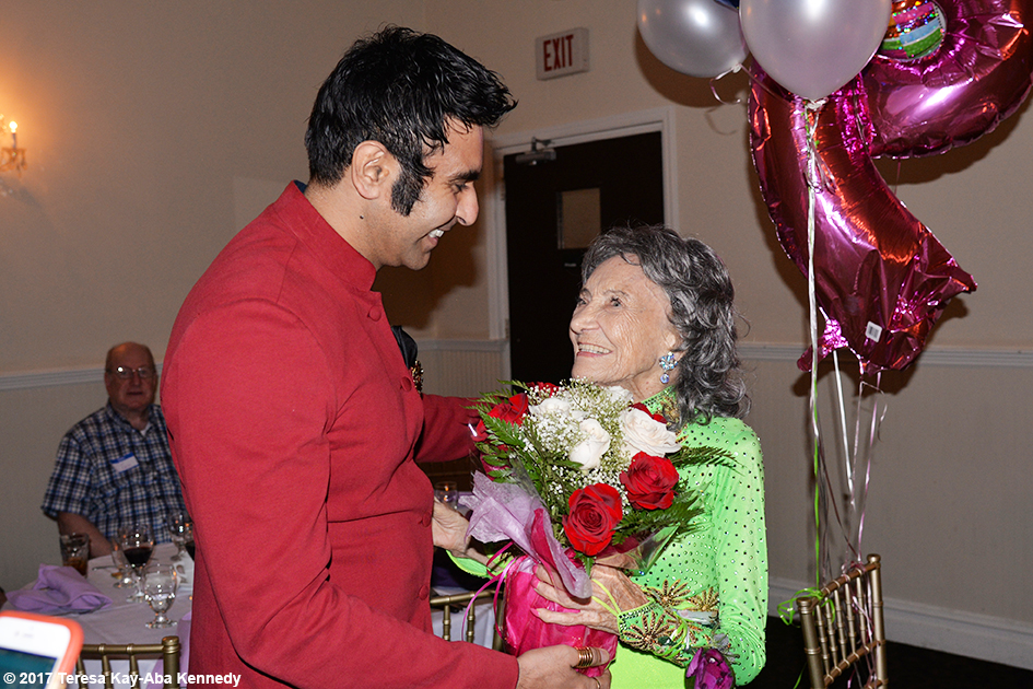 Sandip Soparrkar with Tao Porchon-Lynch at Tao's 99th Birthday Party at the Mansion on Broadway in White Plains, NY - August 13, 2017