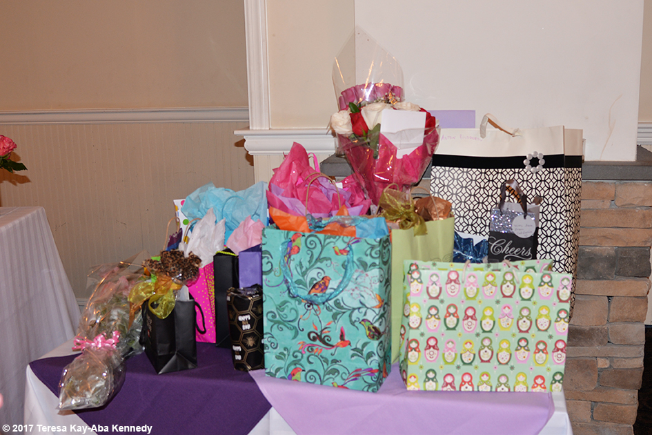 Yoga Master Tao Porchon-Lynch's gifts at her 99th Birthday Party at the Mansion on Broadway in White Plains, NY - August 13, 2017