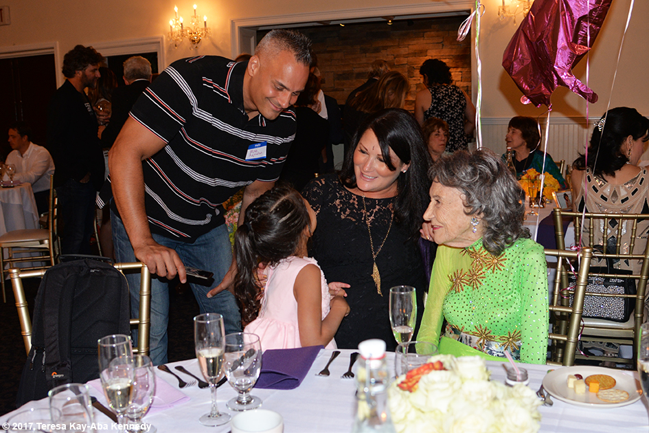 Mike, Natasha Tao and Joanna Rajendran with Yoga Master Tao Porchon-Lynch at Tao's 99th Birthday Party at the Mansion on Broadway in White Plains, NY - August 13, 2017