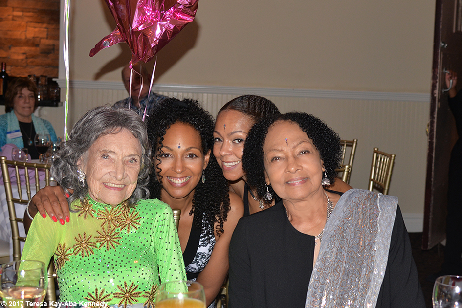 Teresa Kay-Aba Kennedy, Sheila Kennedy Bryant and Janie Sykes-Kennedy with Tao Porchon-Lynch at her 99th Birthday Party at the Mansion on Broadway in White Plains, NY - August 13, 2017
