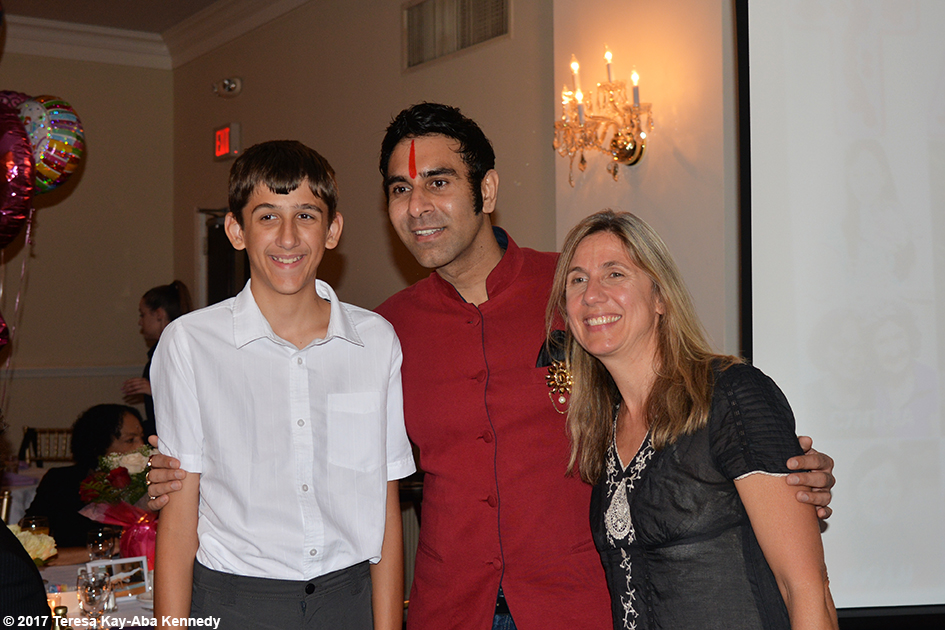 Sandip Soparrkar with Suzanne Jackson and son at Tao Porchon-Lynch's 99th Birthday Party at the Mansion on Broadway in White Plains - August 13, 2017