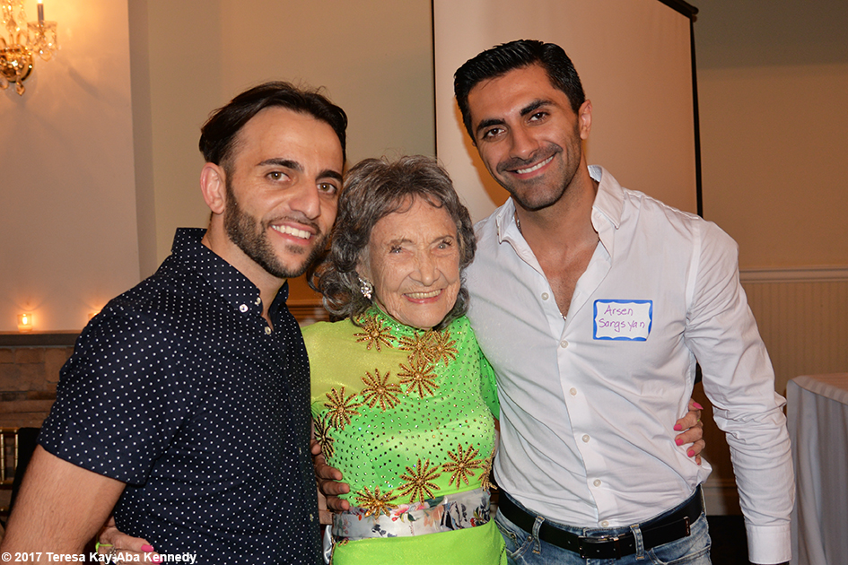 Vard Margaryan and Arsen Sargsyan with Yoga Master Tao Porchon-Lynch at her 99th Birthday Party at the Mansion on Broadway in White Plains, NY - August 13, 2017