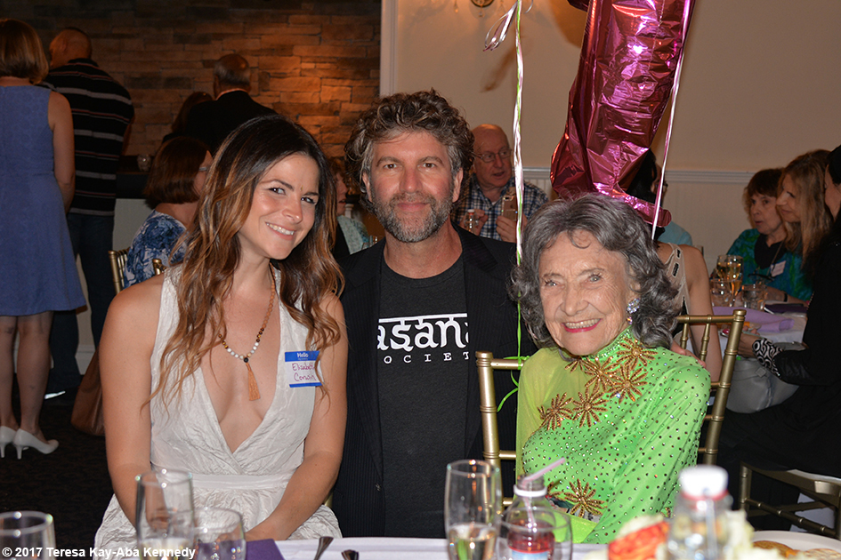 Elizabeth Corwin and Robert Sturman with Yoga Master Tao Porchon-Lynch at her 99th Birthday Party at the Mansion on Broadway in White Plains, NY - August 13, 2017