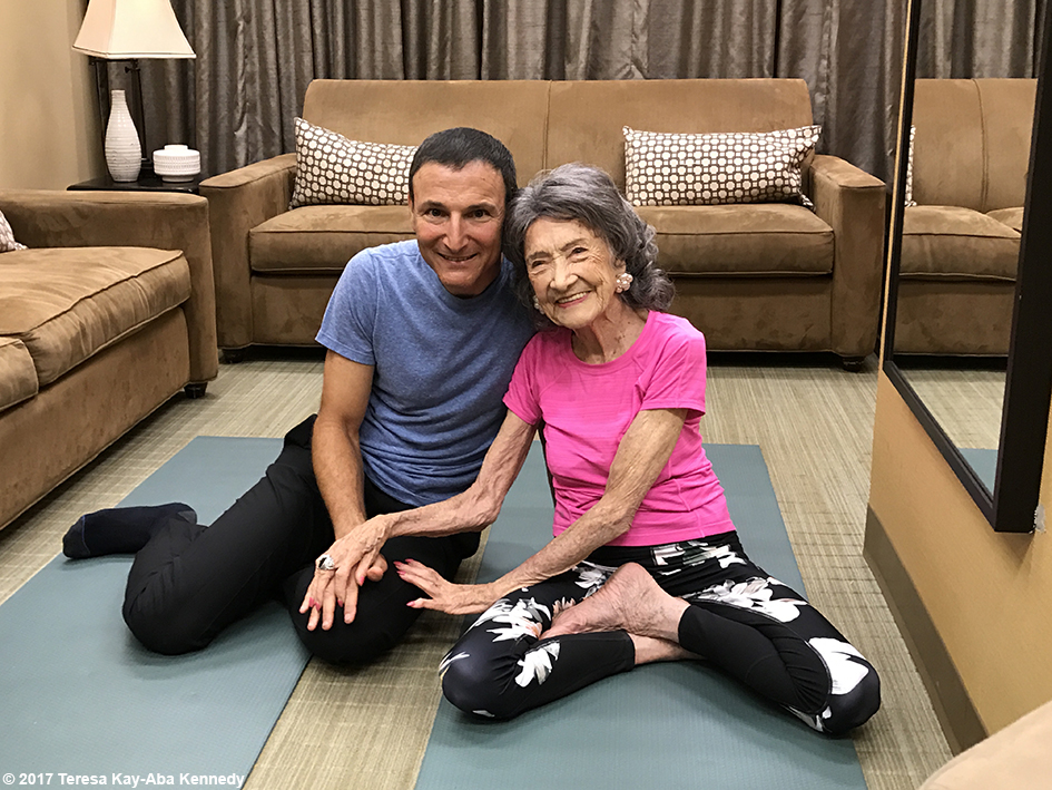 Producer Michael Gelman and 99-year-old Yoga Master and Competitive Ballroom Dancer Tao Porchon-Lynch in green room at LIVE with Kelly & Ryan - September 13, 2017