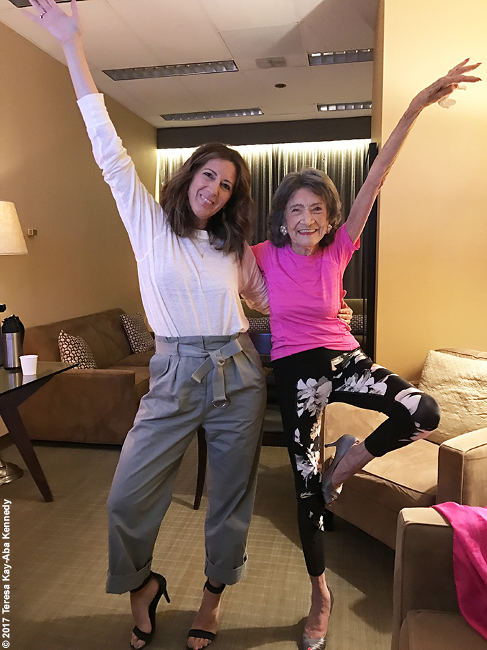 99-year-old Yoga Master and Competitive Ballroom Dancer Tao Porchon-Lynch in green room at LIVE with Kelly & Ryan - September 13, 2017