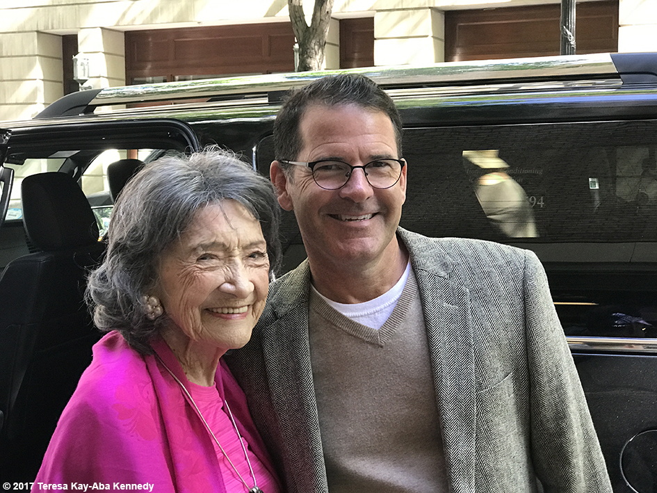 99-year-old Yoga Master and Competitive Ballroom Dancer Tao Porchon-Lynch with David Mullen after LIVE with Kelly & Ryan - September 13, 2017
