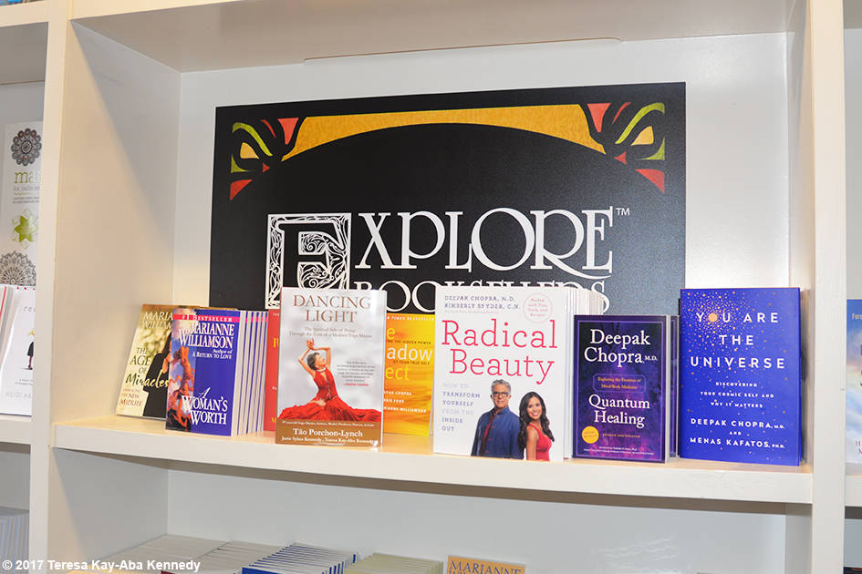 99-year-old yoga master Tao Porchon-Lynch's award-winning autobiography Dancing Light on the Explore Booksellers shelf at Lead With Love Conference in Aspen, Colorado – October 27, 2017