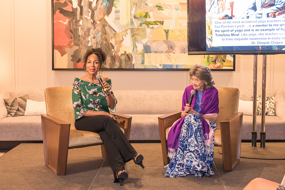 Conversation with a Master event with 99-year-old yoga master Tao Porchon-Lynch and Teresa Kay-Aba Kennedy at The James Hotel NoMad - October 3, 2017