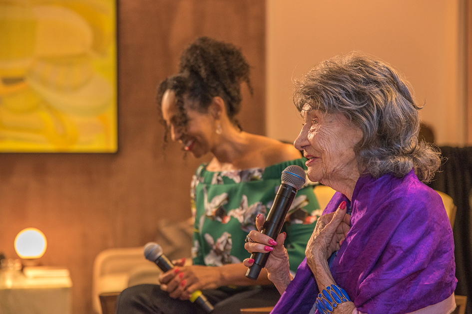 99-year-old yoga master Tao Porchon-Lynch during Conversation with a Master talk with Teresa Kay-Aba Kennedy at The James Hotel - October 3, 2017