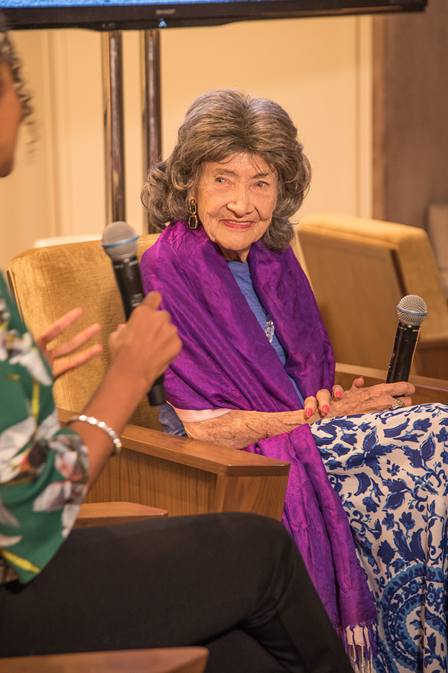 99-year-old yoga master Tao Porchon-Lynch and Teresa Kay-Aba Kennedy during Conversation with a Master talk at The James Hotel - October 3, 2017