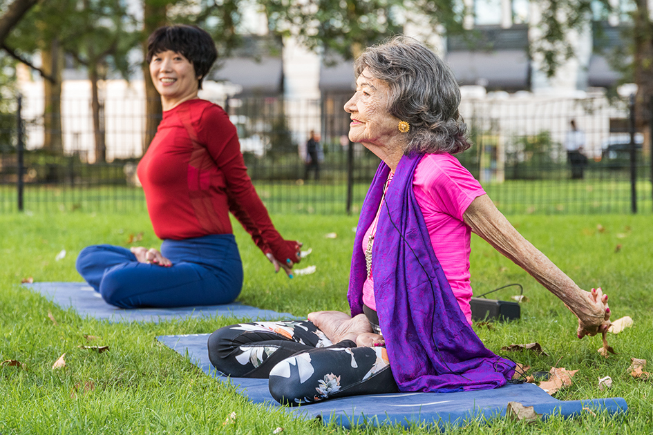99-year-old yoga master Tao Porchon-Lynch teaching at Madison Square Park for The James Hotel - October 4, 2017