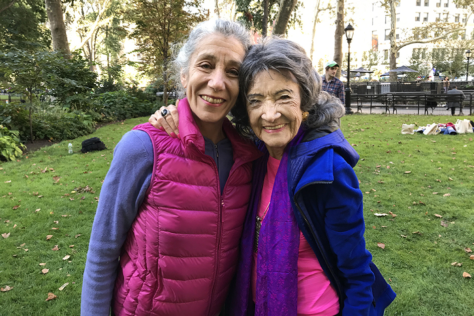 Molly Heron with 99-year-old yoga master Tao Porchon-Lynch at Madison Square Park for The James Hotel - October 4, 2017