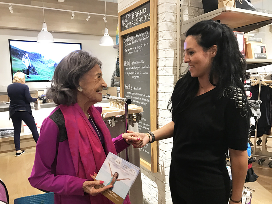 99-year-old yoga master Tao Porchon-Lynch with her new book, Shining Bright - November 18, 2017