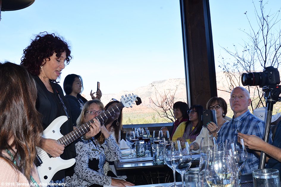 Valerie Romanoff playing special original music for 99-year-old yoga master Tao Porchon-Lynch at Mariposa Restaurant luncheon as part of the Sedona Yoga Festival - February 8, 2018