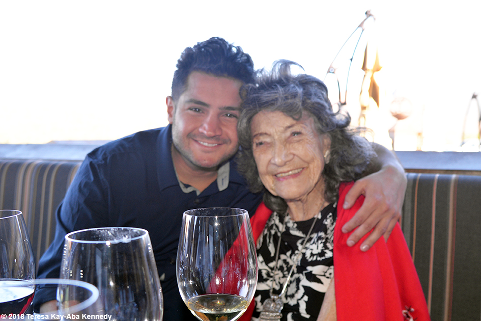 Shayan Moshen with 99-year-old yoga master Tao Porchon-Lynch at Mariposa Restaurant luncheon as part of the Sedona Yoga Festival - February 8, 2018