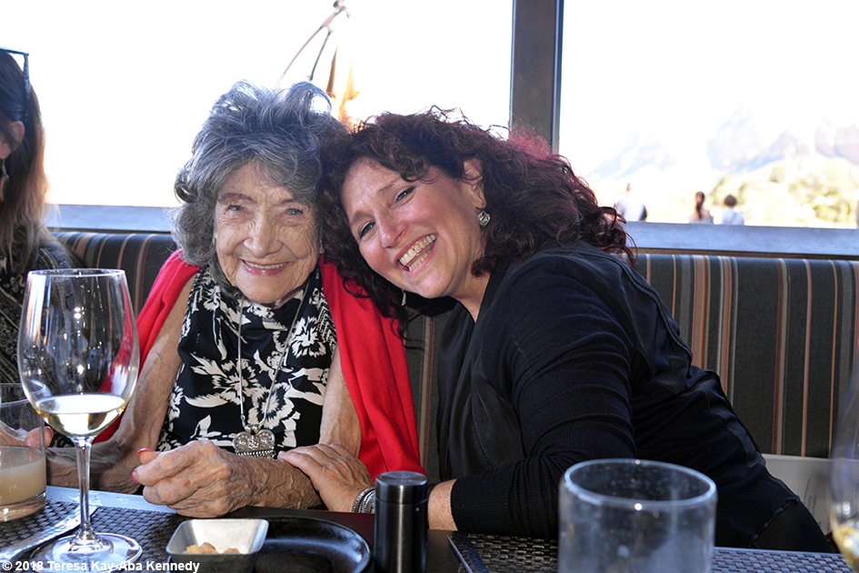 Valerie Romanoff with 99-year-old yoga master Tao Porchon-Lynch at Mariposa Restaurant luncheon as part of the Sedona Yoga Festival - February 8, 2018