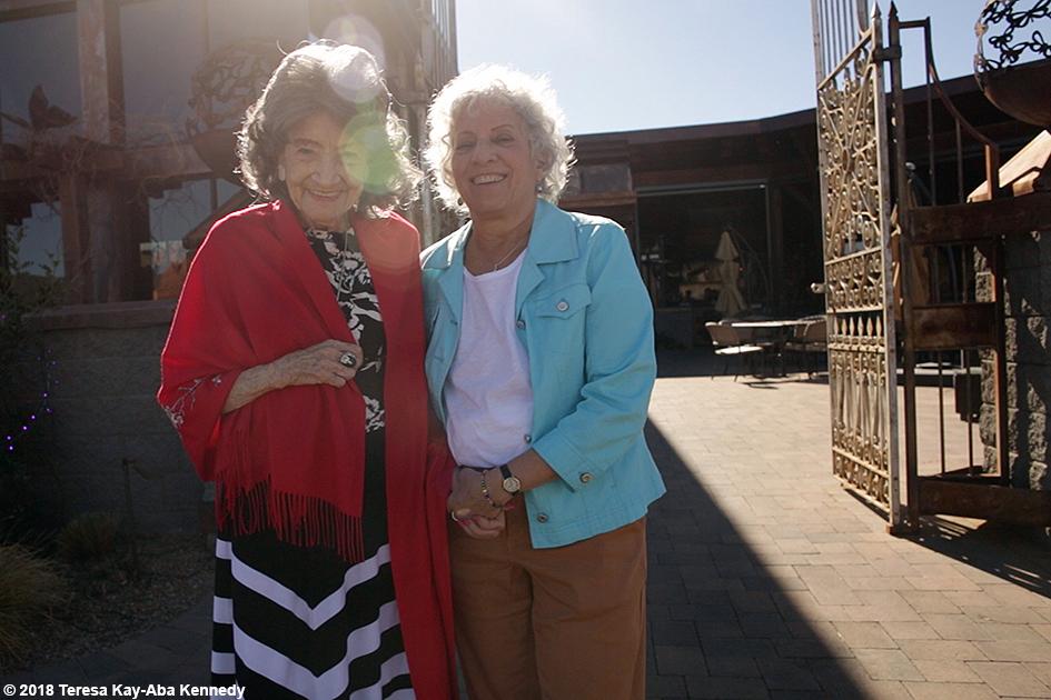 99-year-old yoga master Tao Porchon-Lynch and Joyce Pines at Mariposa Restaurant as part of the Sedona Yoga Festival - February 8, 2018