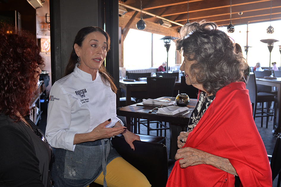 Chef Lisa Dahl and 99-year-old yoga master Tao Porchon-Lynch at Mariposa Restaurant luncheon as part of the Sedona Yoga Festival - February 8, 2018