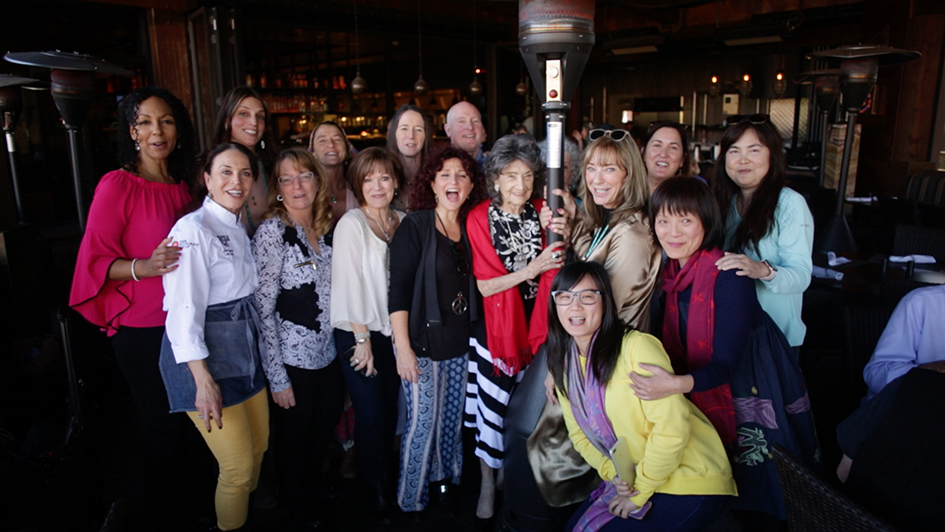 Participants at Mariposa Restaurant luncheon with 99-year-old yoga master Tao Porchon-Lynch as part of the Sedona Yoga Festival - February 8, 2018
