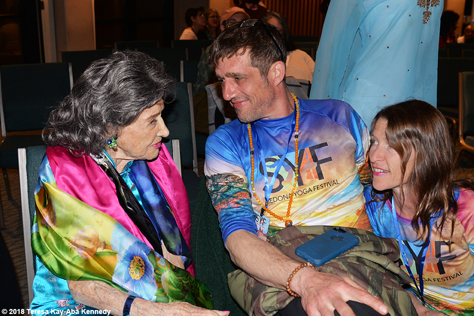 99-year-old yoga master Tao Porchon-Lynch with Marc and Heather Titus at the Sedona Yoga Festival - February 9, 2018