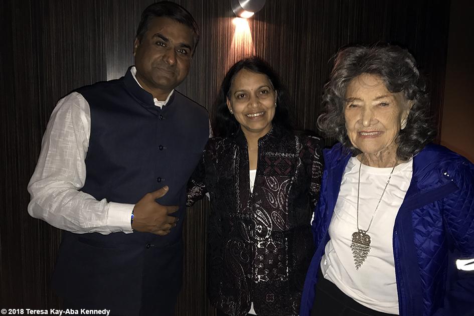 Dr. Suhas Kshirsagar, Dr. Mannish Kshirsagar and 99-year-old yoga master Tao Porchon-Lynch at Sedona Yoga Festival - February 10, 2018