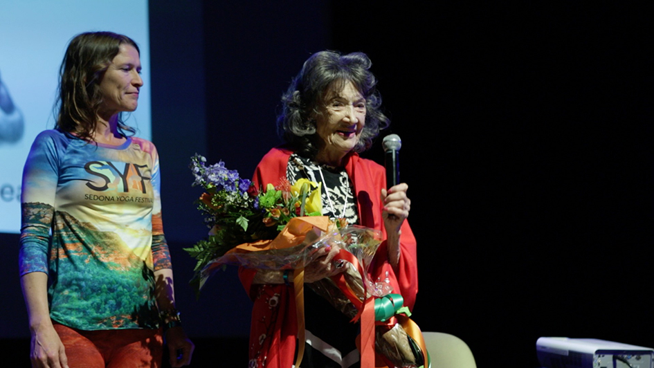 Heather Titus and 99-year-old yoga master Tao Porchon-Lynch at the Opening Ceremony at the Sedona Yoga Festival - February 8, 2018