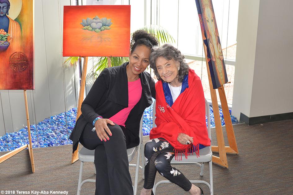 Teresa Kay-Aba Kennedy with 99-year-old yoga master Tao Porchon-Lynch at the Sedona Yoga Festival - February 10, 2018