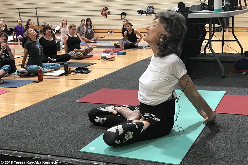 99-year-old yoga master Tao Porchon-Lynch teaching at the Sedona Yoga Festival - February 10, 2018