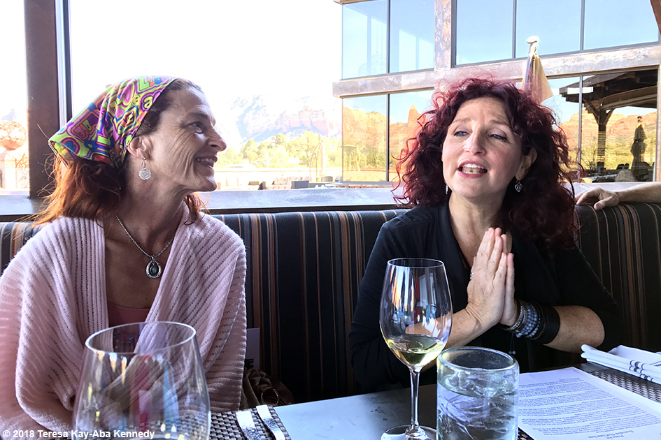 Brenda Clark and Valerie Romanoff at luncheon for 99-year-old yoga master Tao Porchon-Lynch at Mariposa Restaurant as part of the Sedona Yoga Festival - February 8, 2018