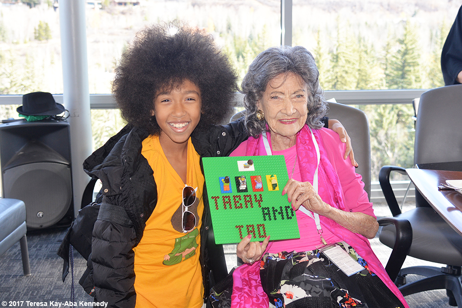 12-year-old yoga teacher Tabay Atkins and 99-year-old yoga master Tao Porchon-Lynch at Lead With Love Conference in Aspen, Colorado – October 26, 2017