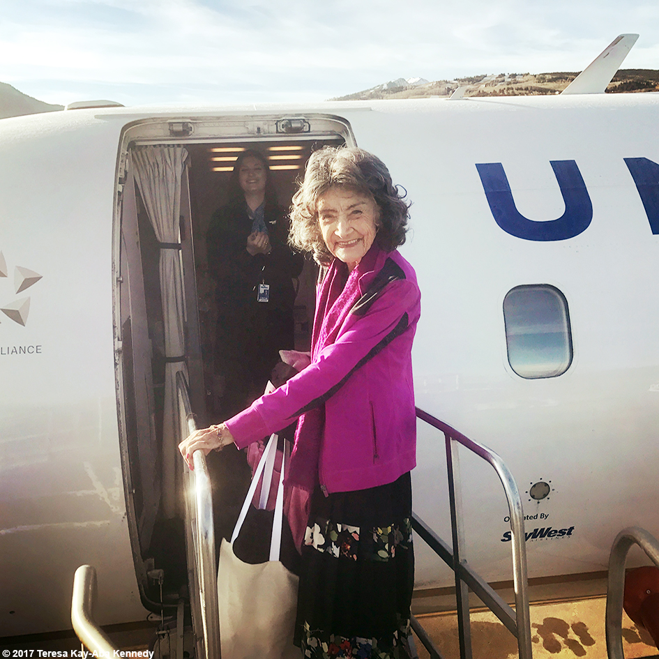 99-year-old yoga master Tao Porchon-Lynch at the Aspen Airport going home from Lead With Love Conference in Aspen, Colorado – October 28, 2017