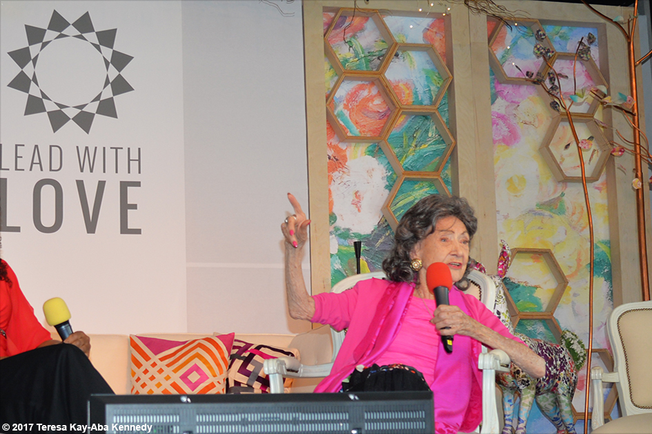 Conversation with a Master with 99-year-old Tao Porchon-Lynch and Teresa Kay-Aba Kennedy at the Lead With Love Conference in Aspen, Colorado – October 26, 2017