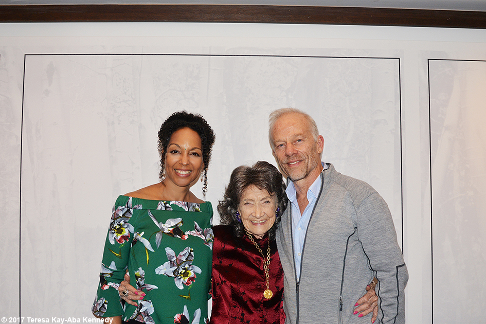 Teresa Kay-Aba Kennedy, 99-year-old yoga master Tao Porchon-Lynch and Rod Stryker at Lead With Love Conference in Aspen, Colorado – October 27, 2017