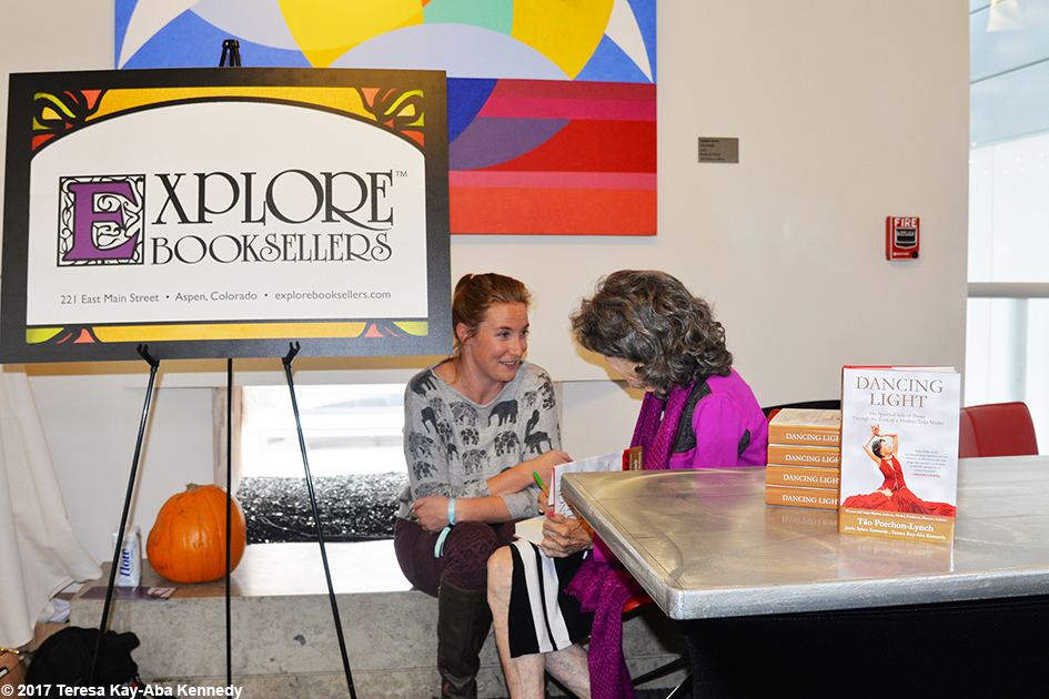 99-year-old yoga master Tao Porchon-Lynch after Explore Booksellers meet-and-greet at Lead With Love Conference in Aspen, Colorado – October 27, 2017