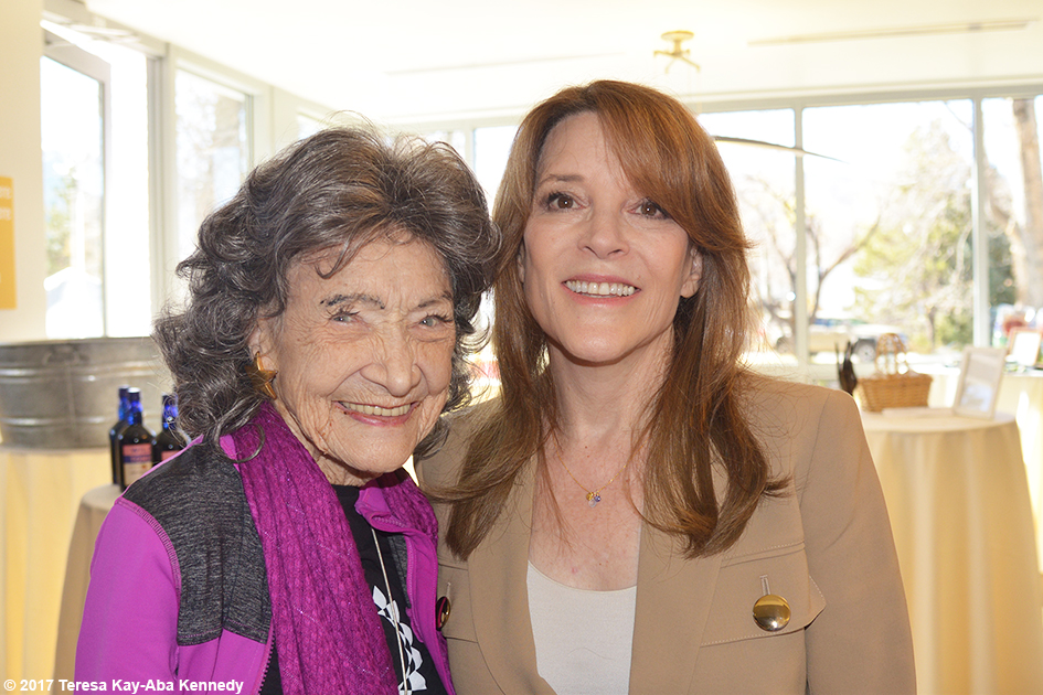 99-year-old yoga master Tao Porchon-Lynch and Marianne Williamson at Lead With Love Conference in Aspen, Colorado – October 27, 2017