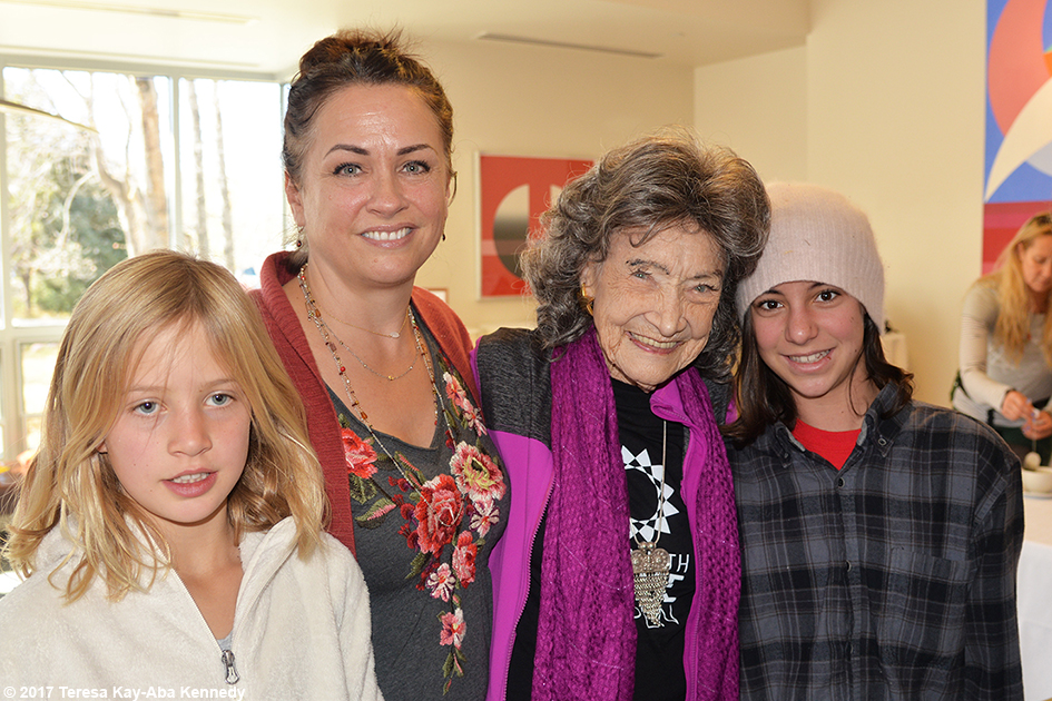 Gina Stryker and her daughters with 99-year-old yoga master Tao Porchon-Lynch at Lead With Love Conference in Aspen, Colorado – October 27, 2017