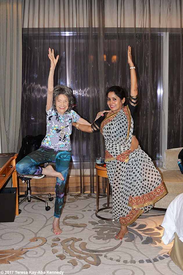 98-year-old yoga master Tao Porchon-Lynch andAnuradha Prabhudoing yoga after the award ceremony in Bangalore, India - June 19, 2017