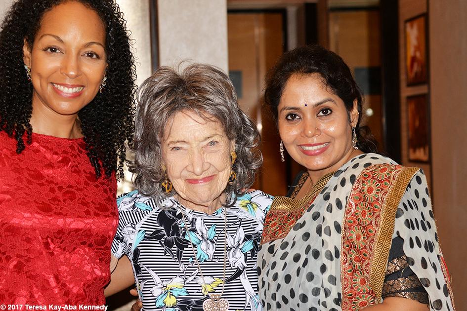 Teresa Kay-Aba Kennedy, 98-year-old yoga master Tao Porchon-Lynch andAnuradha Prabhuafter the award ceremony in Bangalore, India - June 19, 2017