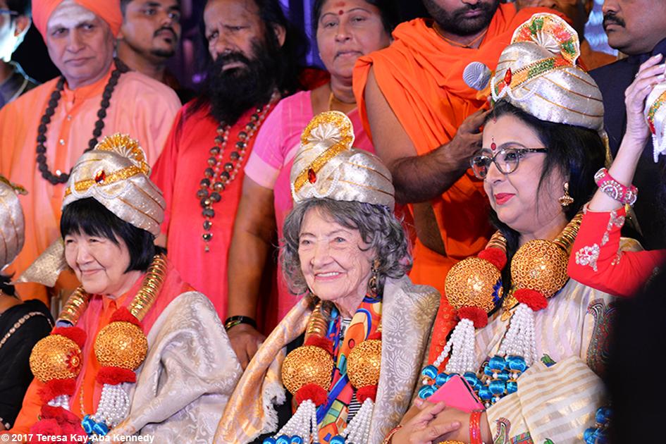 98-year-old yoga master Tao Porchon-Lynch receiving award in Bangalore, India - June 19, 2017