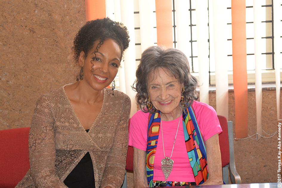 Teresa Kay-Aba Kennedy and 98-year-old yoga master Tao Porchon-Lynch at the Sree Siddaganga Matha in Karnataka, India - June 23, 2017