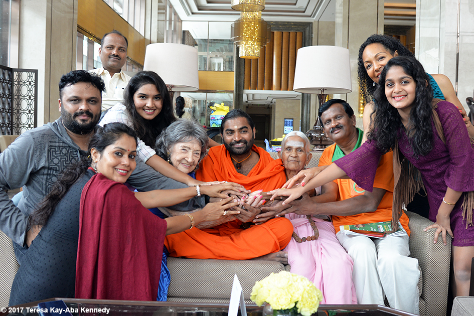 98-year-old yoga master Tao Porchon-Lynch and 97-year-old Amma V. Nanammal with Shwaasa Guru, V. Balakrishnan, Teresa Kay-Aba Kennedy, Nimma Seenu, Anuradha Prabhu and Aarya Prabhu in Bangalore, India - June 20, 2017