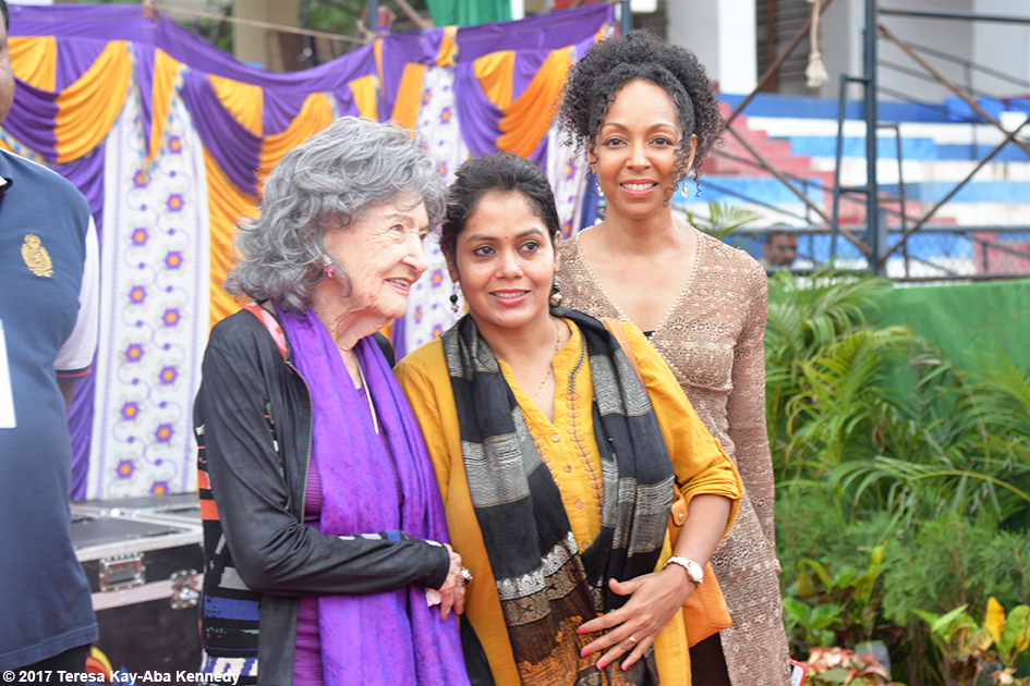 98-year-old yoga master Tao Porchon-Lynch, Anuradha Prabhu and Teresa Kay-Aba Kennedy at International Day of Yoga at Kanteerava Outdoor Stadium in Bangalore, India - June 21, 2017