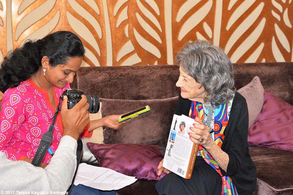 98-year-old yoga master Tao Porchon-Lynch doing media interview before award ceremony in Bangalore, India - June 19, 2017
