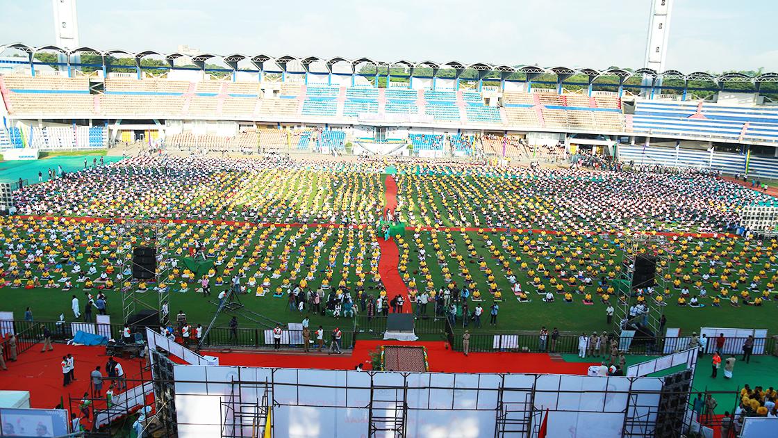 Participants for International Day of Yoga at Kanteerava Outdoor Stadium in Bangalore, India - June 21, 2017