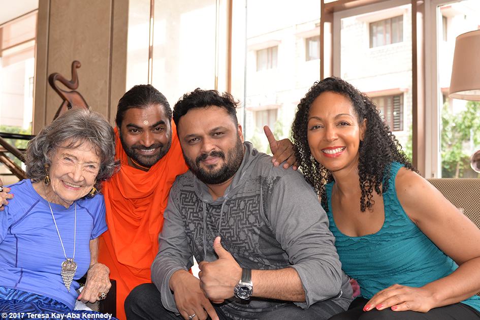 98-year-old yoga master Tao Porchon-Lynch, Shwaasa Guru and Teresa Kay-Aba Kennedy in Bangalore, India - June 20, 2017